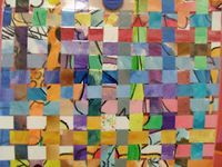 Next year's art auction idea-- each child do a watercolor painting then cut into strips and weave!!  Would have to gesso long pieces of paper or buy large sheet of watercolor paper and cut into strips