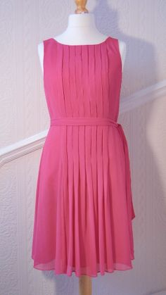 Beautiful pleated MONSOON summer dress (Size 14) Pink Orchid.  Visit our Facebook eBay shop or click here : http://www.ebay.co.uk/itm/251495943065?ssPageName=STRK%3AMESELX%3AIT&_trksid=p3984.m1555.l2649
