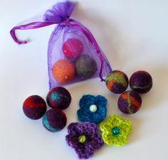 Wool Felt Ball and Crochet Flower Fridge Magnets  https://www.facebook.com/CassiopeiaKnitDesigns/photos/a.536058339796692.1073741828.536039639798562/756507954418395/?type=1&theater