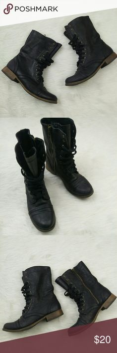 Black moto combat lace up mid ankle boot Preloved. Size 7.5. Super cute Moto boots. Barely worn! Mossimo Supply Co Shoes Combat & Moto Boots