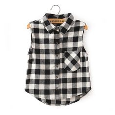 Classy Gingham Sleeveless Top - New Arrivals - Retro, Indie and Unique Fashion Tartan Shirt, Gingham Shirt, Plaid Shirts, Tartan Plaid, White Plaid, Black White, Long Tank Tops, Cropped Tank Top, Crop Tops