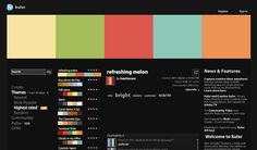 {Kuler} Kuler is the web-hosted application for generating color themes that can inspire any project. No matter what you're creating, with Kuler you can experiment quickly with color variations and browse thousands of themes from the Kuler community.