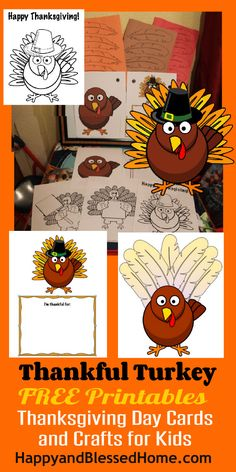Adorable Free Printables -Thanksgiving Day Cards and Crafts for Kids - cards make great gifts! HappyandBlessedHome.com