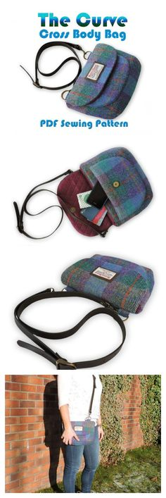 "This is one of the prettiest and shaped crossbody bags we have ever seen. You can get the pdf pattern for the Curve Crossbody Bag here. The pattern shows an advanced beginner sewer how to easily make the Curve Crossbody bag. The bag has an adjustable crossbody strap and magnetic snap closure and is fully lined throughout with a feature curved phone pocket on the front. Being 10.25"" by 8.75"" this generous size bag is great for everyday use and large enough to accommodate all your essentials."