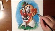 SPEED PAINTING TIME - LAPSE HD: SMILING CLOWN (GOUACHE SKETCH FROM IMAGI...