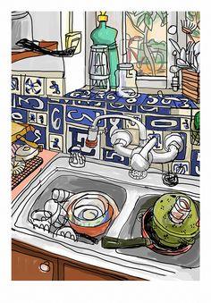 Fregadero · Ilustración de Mariscal · La belleza de lo cotidiano