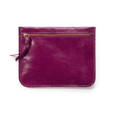 MAGENTA Purple leather pouch leather wallet by LeahLerner on Etsy