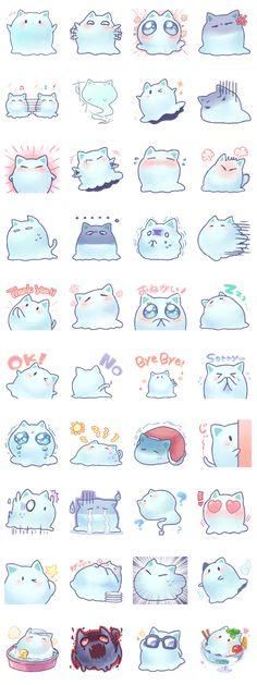 Mint, the spook of a cat - LINE Creators& Stickers - Dibujos - Kawaii Doodles, Kawaii Chibi, Cute Doodles, Kawaii Art, Anime Chibi, Kawaii Anime, Kawaii Stickers, Cute Stickers, Kawaii Drawings