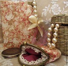 Текстильный комплект, блокнот и кошелёк, розовый, с фермуаром - книга для записей