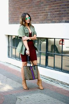 burgandy and army green