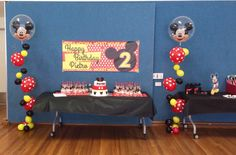 Mickey Mouse bubble strands for the cake table - the red and white polka dots really tie everything together.