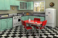retro stili mutfak dekorasyonu