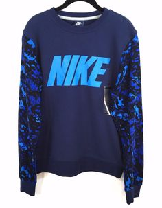 Nike Club Mens Crewneck Sweatshirt Navy Blue Camo Sleeves Small or XXLarge # Nike #SweatshirtCrew