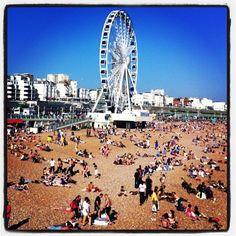 Brighton beach and wheel, England - www.facebook.com/onlyanothertraveladdict