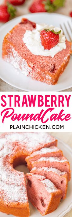 Strawberry Pound Cake THE BEST strawberry pound cake Ive ever eaten Packed FULL of delicious strawberry flavor Flour baking powder salt eggs milk vanilla butter sugar st. Strawberry Jello, Strawberry Desserts, Fun Desserts, Delicious Desserts, Dessert Recipes, Frozen Strawberry Recipes, Strawberry Cheesecake, Pound Cake With Strawberries, Frozen Strawberries