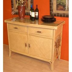 Bay Isle Home Cypress Indoor Rattan Buffet in Natural Finish
