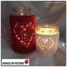 Crochet Puff Flower Heart Shape Jar Candle Cover Crochet pattern by Hooked on Patterns Crochet Puff Flower, Crochet Flower Patterns, Crochet Flowers, Knitting Patterns, Crochet Jar Covers, Unique Crochet, Beautiful Candles, Candle Jars, Tea Lights