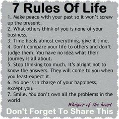 7 rules of life #WordsToLiveBy