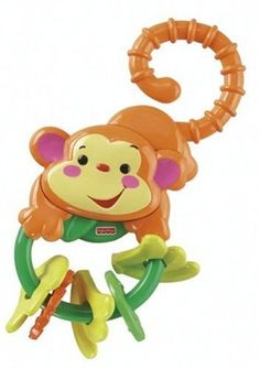 Fisher-Price Rainforest Monkey Teether - http://www.discoverbaby.com/fisher-price/fisher-price-rainforest-monkey-teether/