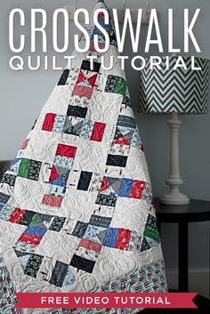 "Make the Crosswalk Quilt using 2.5"" Strips and 5"" Squares! Free Video Tutorial with Jenny Doan!"