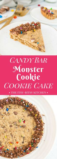 This recipe for candy bar monster cookie cookie cake is a delicious and easy way for you to use up leftover Halloween candy.