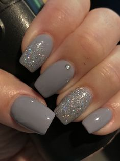 36 Perfect and Outstanding Nail Designs for Winter dark color nails; nude and sparkle nails; The post 36 Perfect and Outstanding Nail Designs for Winter dark color nails; Gel n& appeared first on Nails. Gel Nail Art Designs, Elegant Nail Designs, Ombre Nail Designs, Winter Nail Designs, Elegant Nails, Nails Design, Nail Ideas For Winter, Winter Nail Art, Grey Nails With Design