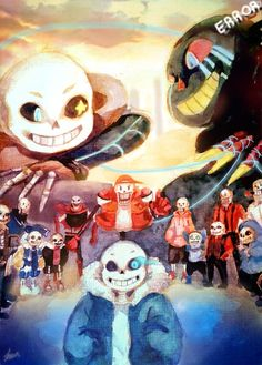 Undertale AU's - Papyrus and Sans  [AU'S from top to bottom, left to right] Inktale, Errortale, Gastertale, Outertale, Underfell, Undertale, Underswap, Mafiatale, Dancetale