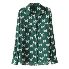 Bowknot Print Long Sleeve Green Shirt ($29) ❤ liked on Polyvore featuring tops, shirts, blouses, long sleeved, print top, mixed print top, long sleeve shirts, long sleeve tops and extra long sleeve shirts