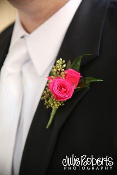 Hot pink wedding flowers - groom - spray roses - sweetheart roses - boutonniere - Groomsmen flowers - Knoxville Tn Wedding Florist - Lisa Foster Floral Design - www. Homecoming Flowers, Prom Flowers, Bridal Flowers, Wedding Flower Guide, Floral Wedding, Corsage Wedding, Wedding Bouquets, Corsage And Boutonniere, White Boutonniere