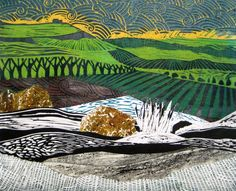 land scape collage   Collaged landscape Lino cut on paper 2008 - Some elements of the ...