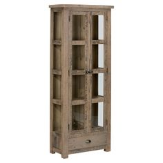 Bring rustic elegance to your dining room or den with this reclaimed pine wood display cabinet, showcasing glass double doors and 4 interior shelves.
