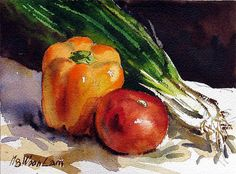 vegetable still life -- Ng Woon Lam Watercolor Fruit, Watercolor Paintings, Watercolors, Watercolor Lesson, Fruit Painting, Chinese Landscape Painting, Landscape Paintings, The Artist Magazine, Vegetable Painting