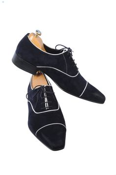 Handmade Special Design Luxury Navy Blue Mens Shoes
