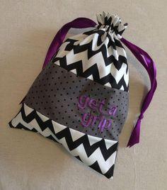 c051d756705 Item(G2) Personalized Gymnastics Grip Bag Get a Grip Purple Chevron