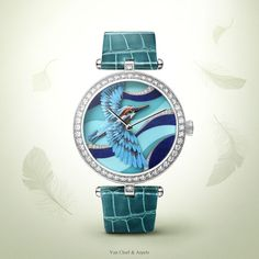 Watches&Wonders 2015 - The Poetry of Time™ by Van Cleef & Arpels. Lady Arpels Martin-Pêcheur Azur - white gold, diamonds, miniature feather art, alligator bracelet and manual-winding mechanical movement. Expressing happiness and fidelity, the kingfisher i Patek Philippe, Timex Watches, Seiko Watches, Amazing Watches, Cool Watches, Audemars Piguet, Feather Art, Rose Gold Watches, Van Cleef Arpels