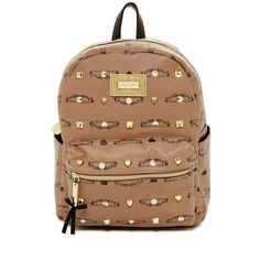 Betsey Johnson Studded Signature Mini Backpack ($55) ❤ liked on Polyvore featuring bags, backpacks, spice, handle bag, knapsack bags, betsey johnson backpack, heart bag and strap bag