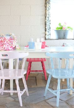 chairs /  love the colours - now here you have the SAME chairs painted different colors that match a room theme!! Marvelous!!