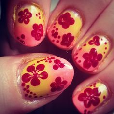 Ombre with flowers.