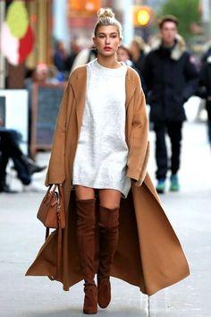How To Wear A Sweater Dress Like Hailey Baldwin