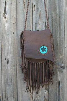 Fringed leather crossbody bag Beaded turtle totem by thunderroseleather for $190.40