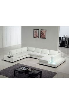 TOSH Furniture Modern White 4 Piece Leather Sectional Sofa Set $3,146.00