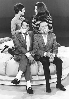 Frank Sinatra and Dean Martin rehearsing with their daughters Tina Sinatra and Deana Martin on The Dean Martin Show, 1967