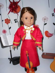 Mariachi charra suit traje red gabardine gold trim for American Girl doll or similar 18 in handmade Mariachi Suit, Line Jackets, Lace Up Boots, Bellisima, American Girl, Harajuku, Dress Up, Bows, Suits