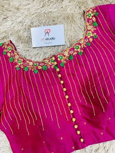 Patch Work Blouse Designs, Hand Work Blouse Design, Blouse Neck Designs, Princess Cut Blouse, Girls Frock Design, Frocks For Girls, Embroidery Designs, Embroidered Blouse, Boat Neck