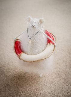 Nautical Home Decor Rat/Mouse with Lifebuoy-Woolly by Candyfleece
