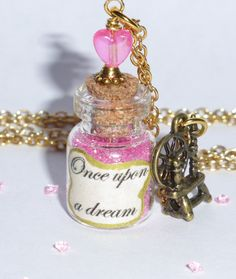 Sleeping Beauty Once upon a Dream Bottle Pendant Necklace with Spinning Wheel Charm ~ Disney Princess by AdornaJewellery on Etsy