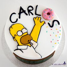 Homer simpson cake i'm going to do as a pumpkin carving. Simpson Cake, Homer Simpson, Bolo Simpsons, Fondant Cakes, Cupcake Cakes, Bolo Cake, Gateaux Cake, Character Cakes, Novelty Cakes