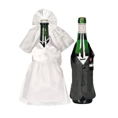 Bride and Groom WEDDING WINE BOTTLE COVERS Set Gown Tuxedo Black White Gift 26/2 #FunExpress #Wedding