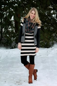 LOVE!! Recreate with my Old Navy Black and White Striped Dress ,Gap Long Sleeve Black Tee, JCP Black Tights ,Brown Boots and a Lands End Quilted PrimaLoft Vest.