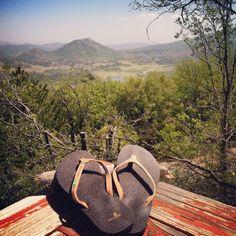 Ahhhhh mountain air & #yogamat #flipflops!